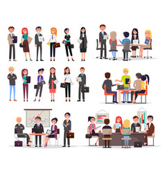 Business people work in teams and create projects vector
