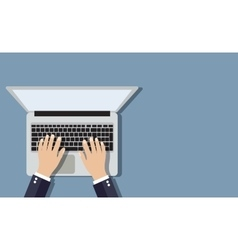 Businessman working a laptop vector image