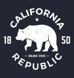 California t shirt with grizzly bear vector