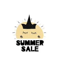 card with lettiring summer sale and cute sun with vector image