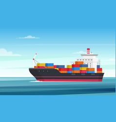 cargo ship flat delivery vector image