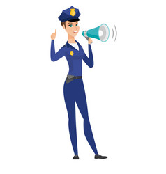 Caucasian police woman talking into loudspeaker vector