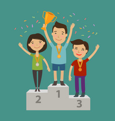Champion on pedestal achievement awarding vector