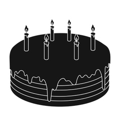 Chocolate cake icon in black style isolated on vector image
