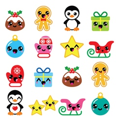 Christmas cute kawaii characters icons vector