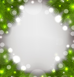 Christmas decorative border from fir twigs glowing vector