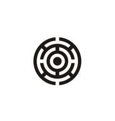circle labyrinth maze target board logo design vector image