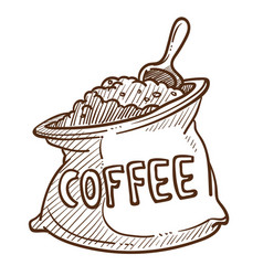 coffee beans or powder in sack with scoop isolated vector image