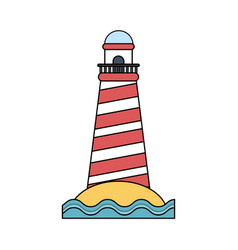 color image red striped lighthouse on island with vector image vector image
