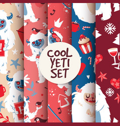 Cool yeti seamless pattern set vector