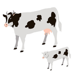 Cow and calf with black spots isolated vector