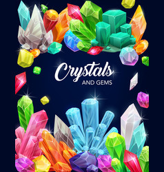 Crystal gems cartoon poster with gemstones vector