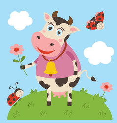cute cow and ladybug on meadow vector image