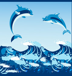 Cute dolphins aquatic marine nature ocean blue vector
