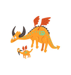 Cute horned mature dragon with wings and small vector