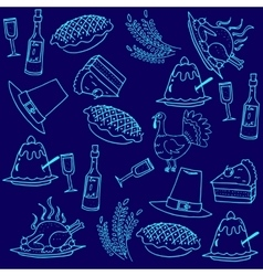 Doodle thanksgiving blue backgrounds vector