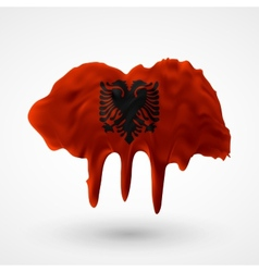 Flag of Albania painted colors vector