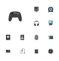 Flat icons microprocessor computer mouse slot vector