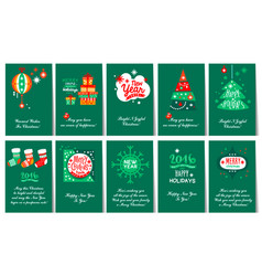 flat set of christmas and new year greeting vector image