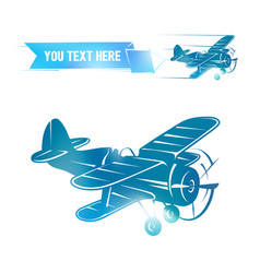 Flying vintage color plane with the banner vector