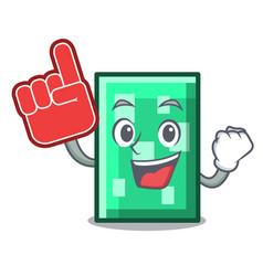 Foam finger rectangle mascot cartoon style vector