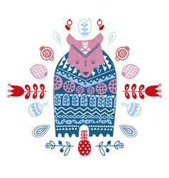 folk art ethnic style cute winter bear in vector image