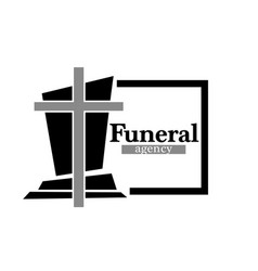 Funeral agency logo with headstone and cross in vector