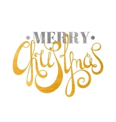 Gold and silver textured text Merry Christmas vector image