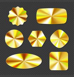 Gold holographic stickers hologram labels set vector