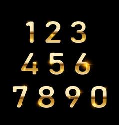 gold numbers set digital metal gradient numbers vector image
