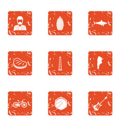Green area icons set grunge style vector