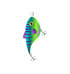 Green gradient fishing bait with fish round form vector