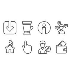 Hand click latte and load document icons vector