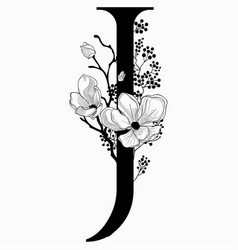 Hand drawn floral j monogram and logo vector