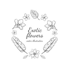 Hand drawn floral round wreath concept vector