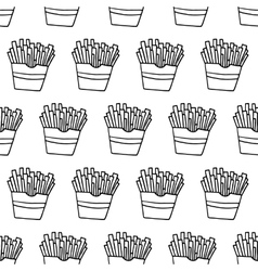 Hand Drawn French Fries Seamless Pattern vector image
