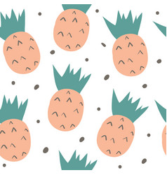 Hand drawn seamless pattern with doodle fruits vector
