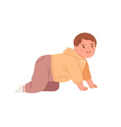 Happy baby crawling cute little child moving vector
