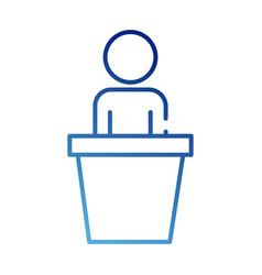 Human figure avatar in speech podium gradient vector