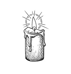Ink sketch burning candle vector
