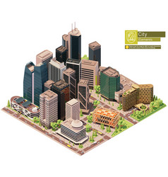 isometric city downtown vector image