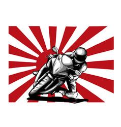 japanese motorcycle yakuza gangs with flag of vector image
