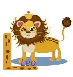 L letter funny cartoon lion design in a colorful vector