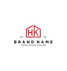 Letter hk home logo design concept vector