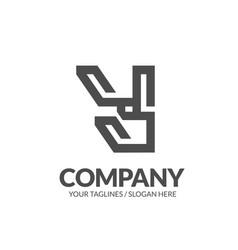 letter y geometric strong monogram logo vector image