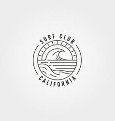 line art surf and wave logo symbol design vector image