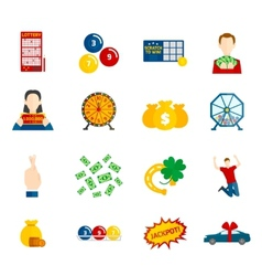 Lottery Icon Flat Set vector image vector image