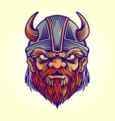 mascot viking logo helmet vector image