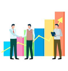 Men stand near statistics chart business meeting vector