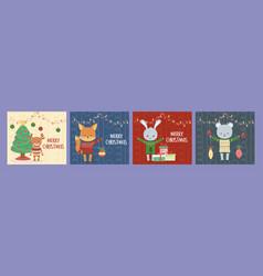 merry christmas celebration cute animals vector image